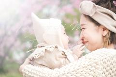 大阪鶴見緑地公園家族写真桜バースデーフォト出張撮影会カメラマン
