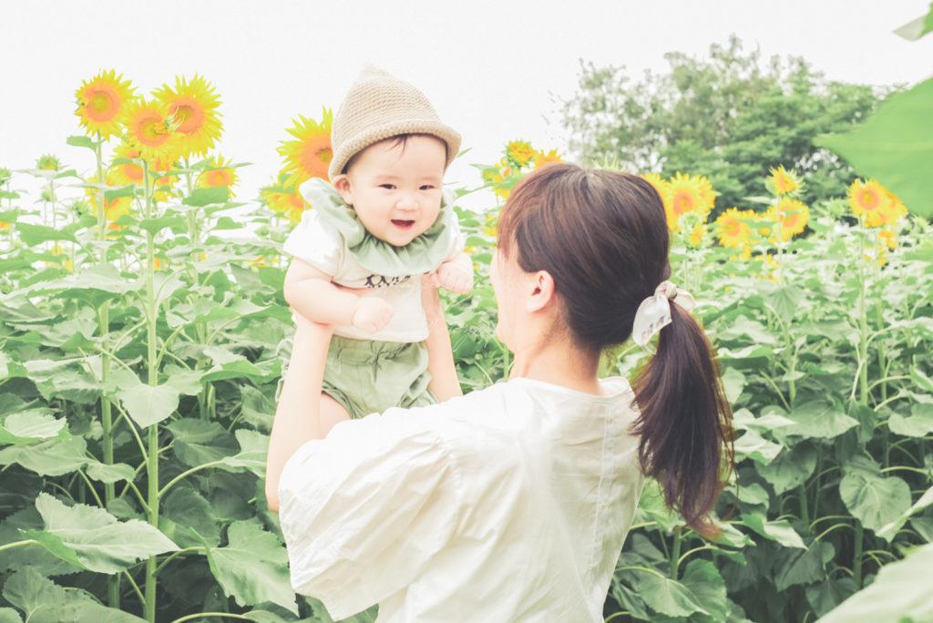 大阪市夏の思い出鶴見緑地公園ひまわり子供写真出張撮影会