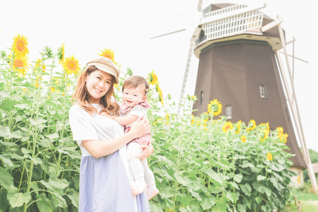 大阪市夏の思い出鶴見緑地公園ひまわり家族写真出張撮影会
